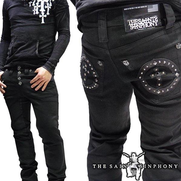 【送料無料】 セインツシンフォニー THE SAINTS SINPHONY メンズ コーティング ブラック デニム X003 セイントシンフォニー セインツ シンフォニー LAセレブ セレカジ カジュアル ファッション ロック スタイル Ed Hardy エドハーディー 好きに