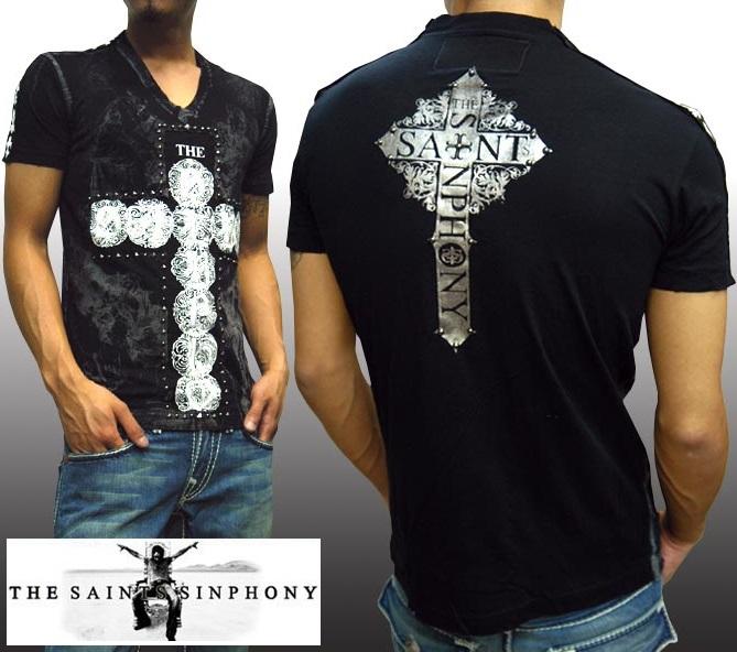 セインツシンフォニー THE SAINTS SINPHONY メンズ Vネック Tシャツ メンズ HIGH セイントシンフォニー 半袖 シャツ セインツ シンフォニー LAセレブ セレカジ カジュアル ファッション ロック スタイル Ed Hardy エドハーディー 好きに