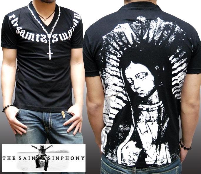 セインツシンフォニー THE SAINTS SINPHONY メンズ Vネック Tシャツ メンズ MARY JANE セイントシンフォニー 半袖 シャツ セインツ シンフォニー LAセレブ セレカジ カジュアル ファッション ロック スタイル Ed Hardy エドハーディー 好きに