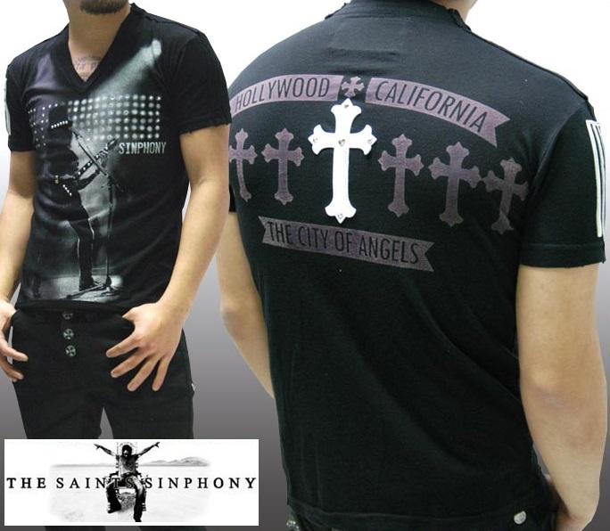 セインツシンフォニー THE SAINTS SINPHONY メンズ Vネック Tシャツ メンズ 536 セイントシンフォニー 半袖 シャツ セインツ シンフォニー LAセレブ セレカジ カジュアル ファッション ロック スタイル Ed Hardy エドハーディー 好きに