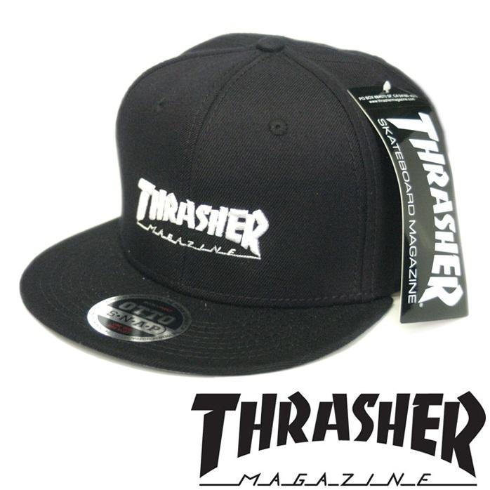 スラッシャー THRASHER メンズ レディース 兼用 スナップバックキャップ MAG LOGO ブラック ホワイト キャップ 帽子 スケーター インポート ストリート スタイル ブランド HIPHOP ウェアー B系 アメカジ ヒップホップ ファッション 正規
