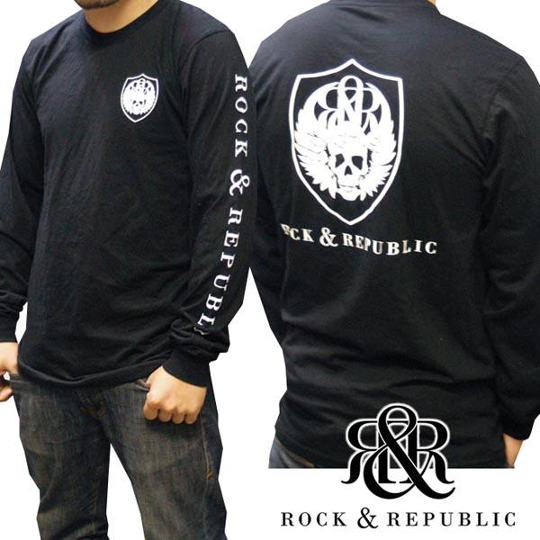 ロックアンドリパブリック メンズ 長袖 Tシャツ スカル ブラック Rock&Republic トップス ロンT シャツ ロック&リパブリック インポート プレミアムデニム ブランド LAセレブ ファッション ハリウッド セレブ LAカジュアル セレカジ ロック ストリート アメカジ スタイル