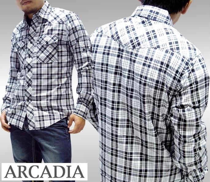 【セール】 アルカディア メンズ ボタンシャツ ARCADIA チェックシャツ ホワイト×ブラック 長袖 シャツ LAセレブ 多数着用 プレミアム ブランド ハリウッド セレブ カジュアル セレカジ ファッション ロック スタイル