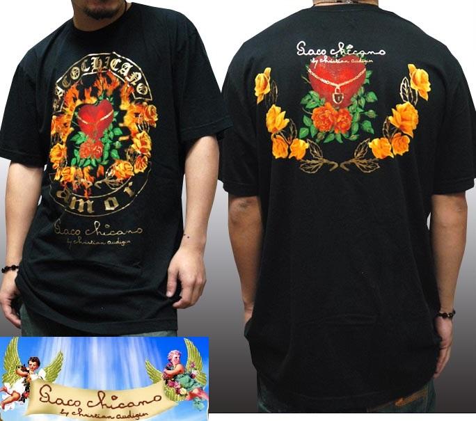 【セール】 パコ チカーノ メンズ Tシャツ ブラック Paco Chicano AMOR トップス インポート LAセレブ ファッション ハリウッド セレブ カジュアル ストリート セレカジ エドハーディー Ed Hardy エドハーディ 姉妹 ブランド 海外セレブ 着用 ロック スタイル