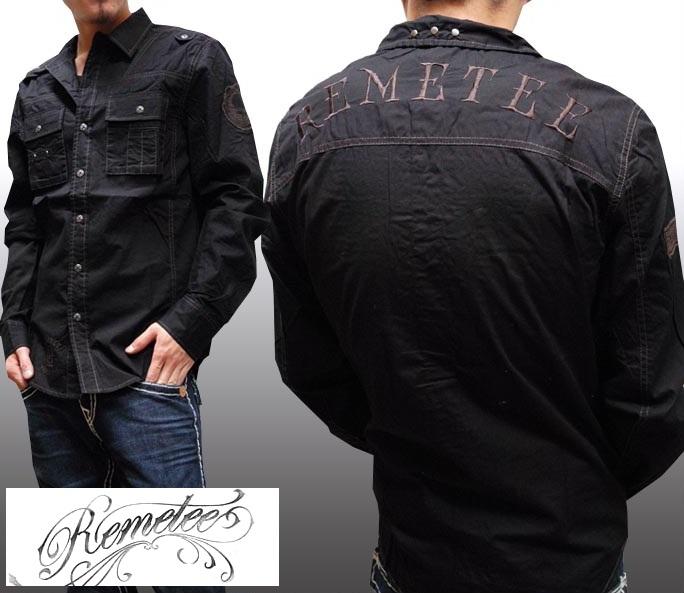 レメティー メンズ ボタンシャツ CONTENDER ブラック REMETEE 長袖 シャツ LAセレブ 多数着用 プレミアム ブランド セレブ カジュアル セレカジ ファッション ロック スタイル セール