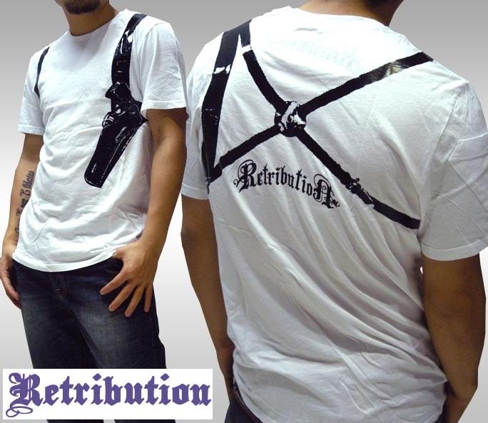 【セール】 リトリビューション メンズ Tシャツ ホワイト Retribution GUNHOLDER 半袖 トップス シャツ LAセレブ インポート ファッション ハリウッド セレブ カジュアル セレカジ ROCK ロック ストリート スタイル プレミアムデニム ブランド アメカジ LAブランド