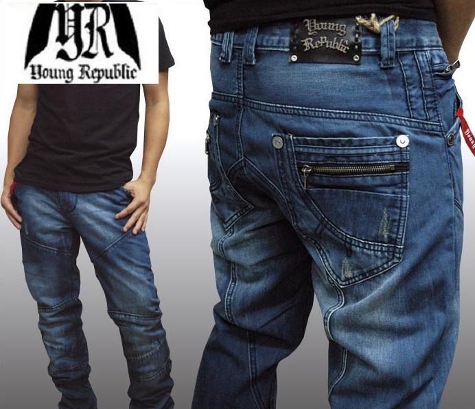 【セール】 ヤングリパブリック メンズ デニム ダーク Young Republic ジッパー ポケット ジーンズ インポート ブランド セレブ ストリート スタイル HIPHOP ウェアー B系 服 ダンス ウェア セレカジ アメカジ ヒップホップ カジュアル ファッション