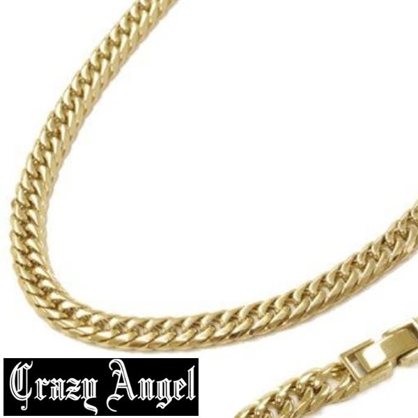 Crazy Angel クレイジーエンジェル ステンレス 6面 ダブル キヘイ ネックレス 喜平 6.5mm/60cm CA-974 ゴールドカラー アクセサリー ジュエリー ブランド アクセ メンズ