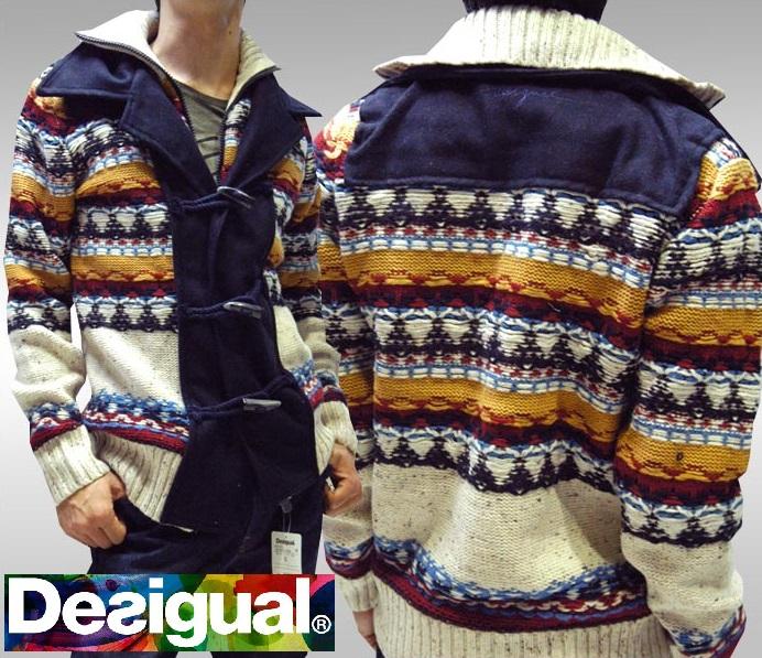 デシグアル Desigual メンズ ジャケット ネイビー ホワイト 37J1107 アウター ニット スペイン セレカジ ヨーロピアン ファッション インポート ブランド アメカジ セレブ カジュアル スタイル 正規