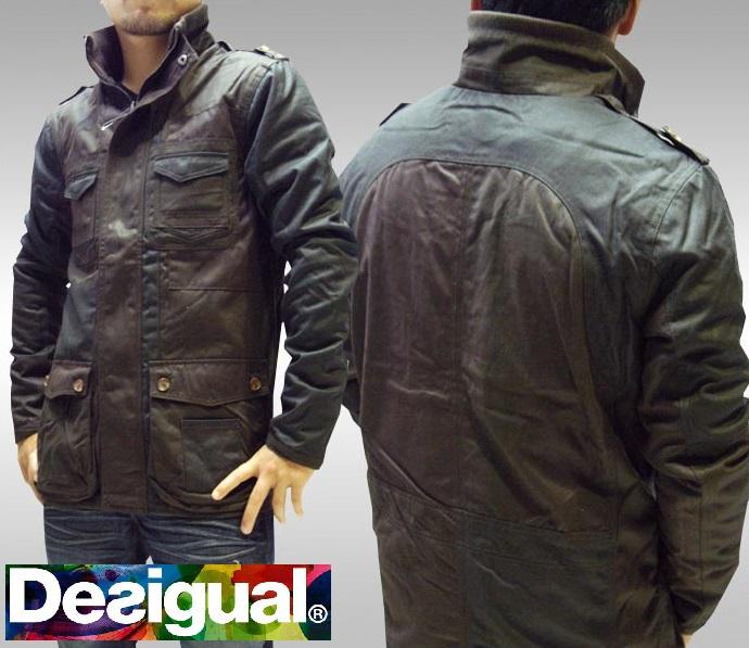 デシグアル Desigual メンズ ミリタリー ジャケット オイル コーティング アウター ダークオリーブ スペイン セレカジ ヨーロピアン ファッション インポート ブランド アメカジ セレブ カジュアル スタイル 正規