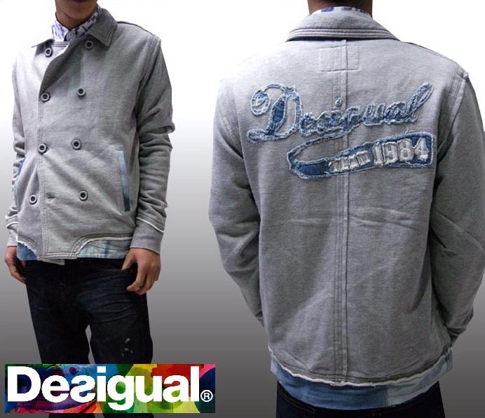 デシグアル Desigual メンズ ジャケット グレー アウター Pコート Desigual 31S1009 スペイン セレカジ ヨーロピアン ファッション インポート ブランド アメカジ セレブ カジュアル スタイル 正規