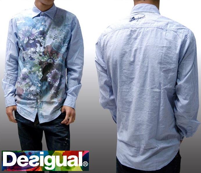 デシグアル Desigual メンズ ストライプシャツ ライトブルー 花柄 ボタンシャツ 長袖 シャツ 32C1294 スペイン セレカジ ヨーロピアン ファッション インポート ブランド アメカジ セレブ カジュアル スタイル 正規