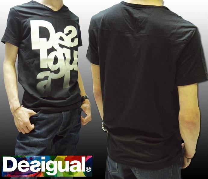 デシグアル Desigual メンズ Tシャツ ブラック 36T1459 2000 スペイン セレブ セレカジ ヨーロピアン ファッション インポート ブランド アメカジ セレブ カジュアル スタイル 正規