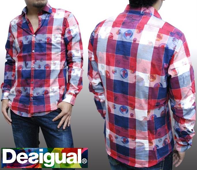 デシグアル Desigual メンズ チェックシャツ レッド ネイビー 26C1214 長袖 シャツ スペイン セレカジ ヨーロピアン ファッション インポート ブランド アメカジ セレブ カジュアル スタイル 正規