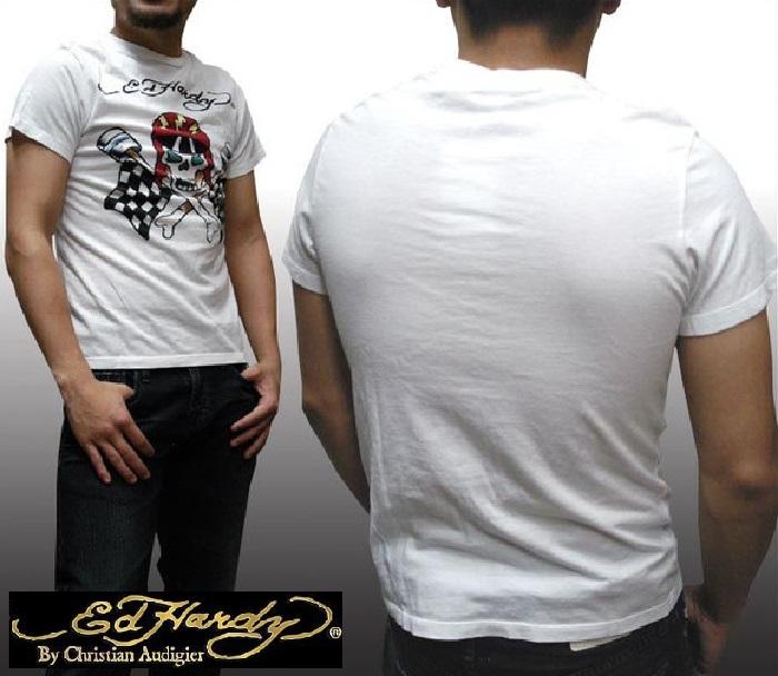 エドハーディー メンズ Tシャツ FLAG SKULL ホワイト エド・ハーディー 正規品 インポート セレブ ファッション サファリ 掲載 ブランド セレカジ アメカジ ストリート ロック サーフ スタイル LAセレブ クリスチャン オードジェー