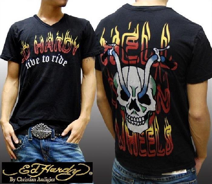 エドハーディー メンズ Tシャツ FLAMING EH ブラック エド・ハーディー 正規品 インポート セレブ ファッション サファリ 掲載 ブランド セレカジ アメカジ ストリート ロック サーフ スタイル LAセレブ クリスチャン オードジェー