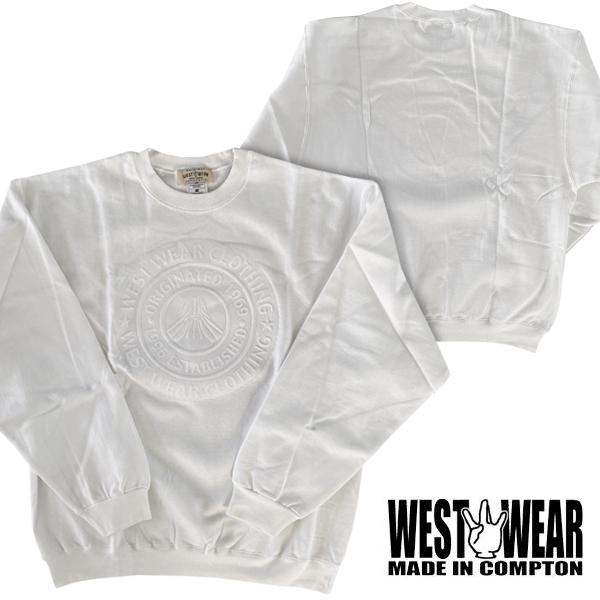 WEST WEAR メンズ スエット サークル ロゴ ホワイト ウエストウェアー Compton コンプトン ストリート スタイル HIPHOP ウェアー B系 服 ヒップホップ ダンス 西海岸 ウエストコースト ファッション ブランド ウェア 大きいサイズ セール