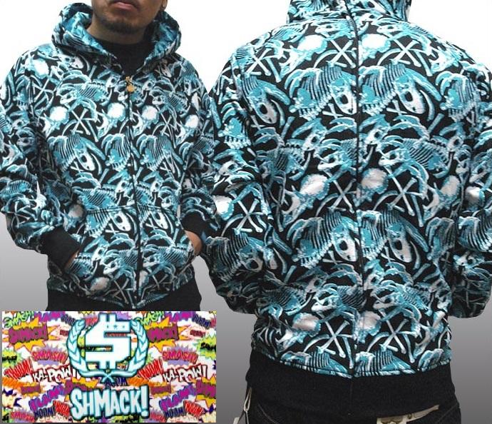 【セール】 シュマック メンズ パーカー ブルー SHMACK 総柄 フーディー フルジップ インポート ストリート スタイル ブランド HIPHOP ウェアー B系 服 ダンス ウェア アメカジ ヒップホップ ファッション