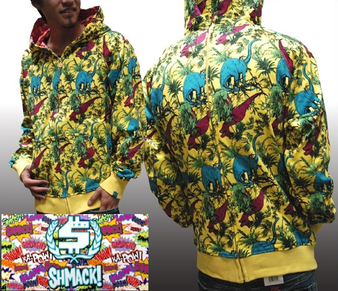 【送料無料】【セール】 シュマック メンズ パーカー イエロー SHMACK 総柄 フーディー フルジップ インポート ストリート スタイル bboy B-Boy ブランド HIPHOP ウェアー B系 服 ダンス ウェア アメカジ ヒップホップ ファッション