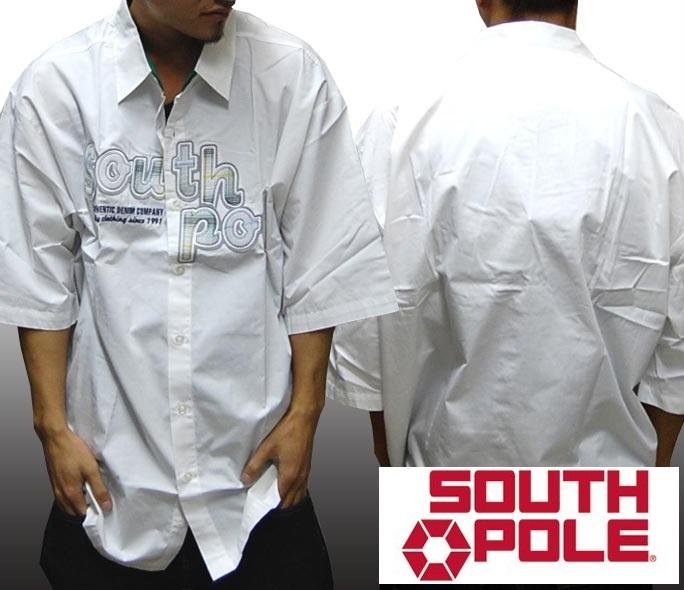 【セール】 サウスポール メンズ ボタンシャツ ホワイト グリーン 半袖 シャツ SOUTHPOLE インポート ストリート スタイル HIPHOP ファッション ブランド ヒップホップ ダンス B系 B-BOY ウェアー 服 アメカジ ウェア