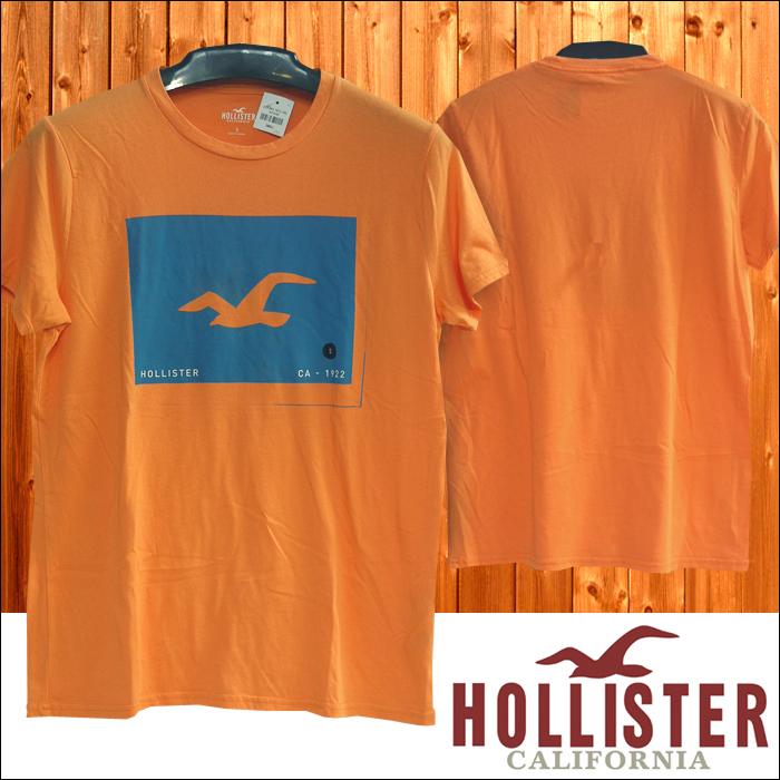 HOLLISTER ホリスター メンズ Tシャツ BOX LOGO オレンジ アメカジ サーフ ブランド ファッション インポート カジュアル ヴィンテージ カリフォルニア スタイル 正規 商品 075