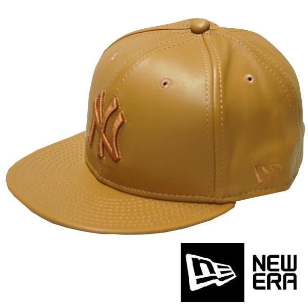 【セール】 ニューエラ キャップ ニューヨーク ヤンキース レザーキャップ ブラウン レザー 本革 メンズ レディース NEWERA CAP MLB NewYork Yankees ストリート ファッション NEW ERA 帽子 ベースボールキャップ ブランド HIPHOP ウェア ヒップホップ ウエア B系 スタイル
