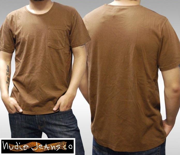ヌーディージーンズ NUDIE JEANS メンズ Tシャツ ブラウン 無地 プレーン ポケット 半袖 シャツ ジーンズ ブランド セレブ ファッション サファリ掲載 NUDIEJEANS ヌーディー イタリア パンツ インポート イタカジ カジュアル ウェア セレカジ スタイル 正規 商品
