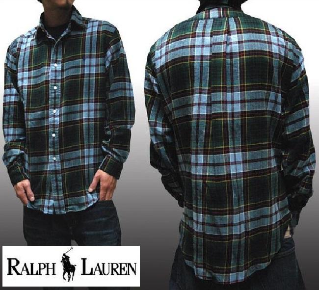 POLO RALPH LAUREN ポロ ラルフローレン メンズ 長袖 ネルシャツ GREEN BL RD ボタンシャツ シャツ ラルフ カジュアル アメカジ スタイル ファッション