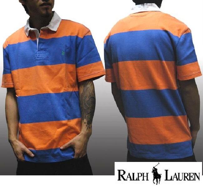 POLO RALPH LAUREN ポロ ラルフローレン メンズ 半袖 ワンポイント ポニー PONY ボーダー オレンジ ラガーシャツ ラルフ カジュアル アメカジ スタイル ファッション