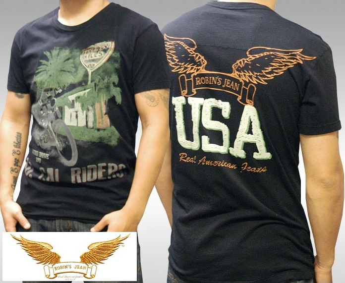 ロビンズジーン メンズ Tシャツ ROBIN'S JEAN SO CAL RIDERS ブラック 半袖 シャツ safari サファリ LEON レオン オーシャンズ 掲載 ジーンズ ブランド ロビンズジーンズ セレブ ファッション ロビンジーンズ ストリート カジュアル