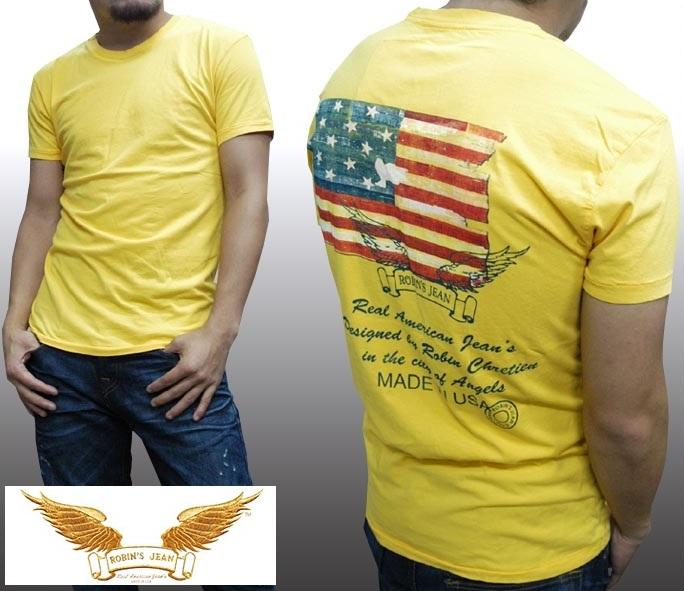 ロビンズジーン メンズ Tシャツ ROBIN'S JEAN FLAG イエロー 半袖 シャツ safari サファリ LEON レオン オーシャンズ 掲載 ジーンズ ブランド ロビンズジーンズ セレブ ファッション ロビンジーンズ ストリート カジュアル