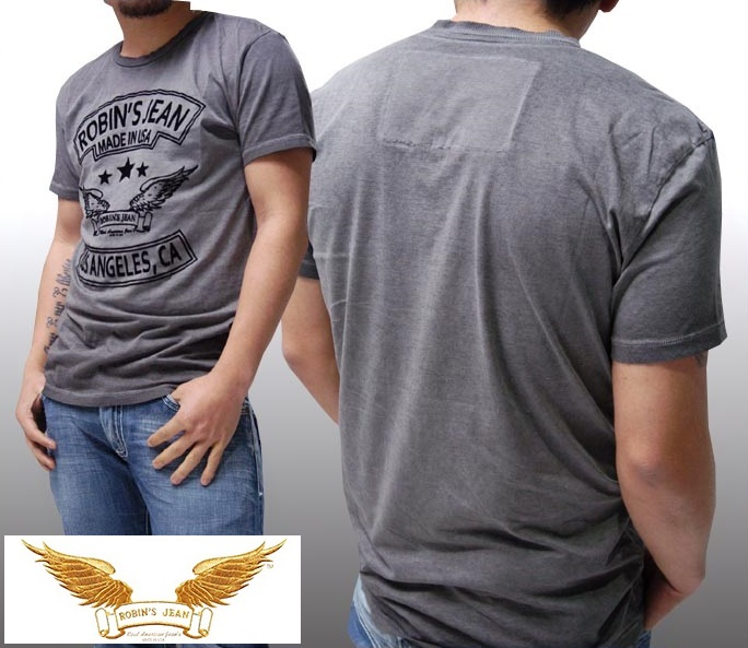 ロビンズジーン メンズ Tシャツ ROBIN'S JEAN ウィング ロゴ LA グレー 半袖 シャツ safari サファリ LEON レオン オーシャンズ 掲載 ジーンズ ブランド ロビンズジーンズ セレブ ファッション ロビンジーンズ ストリート カジュアル
