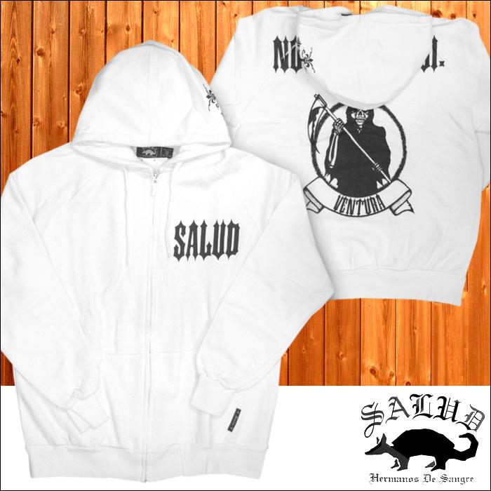 SALUD サルー メンズ ジップ パーカー 530 ホワイト ストリート ローライダー チカーノ ファッション ウェアー カジュアル スタイル ブランド シャネルズ ラッツ&スター HIPHOP ヒップホップ ダンス ウェア B系 服 大きいサイズ セール 2L 2XL 3L 3XL 4L