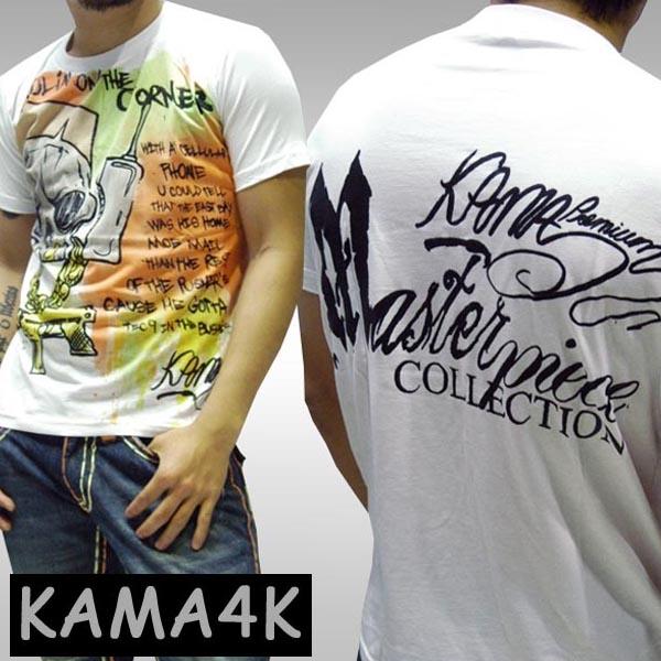 【セール】 カーマフォーケイ メンズ Tシャツ SKULLPHONE ホワイト KAMA4K シャツ トップス インポート カジュアル ストリート グラフィティ スケーター ブランド HIPHOP アメカジ ファッション ヒップホップ B系 ウェアー 服 ダンス ウェア スタイル