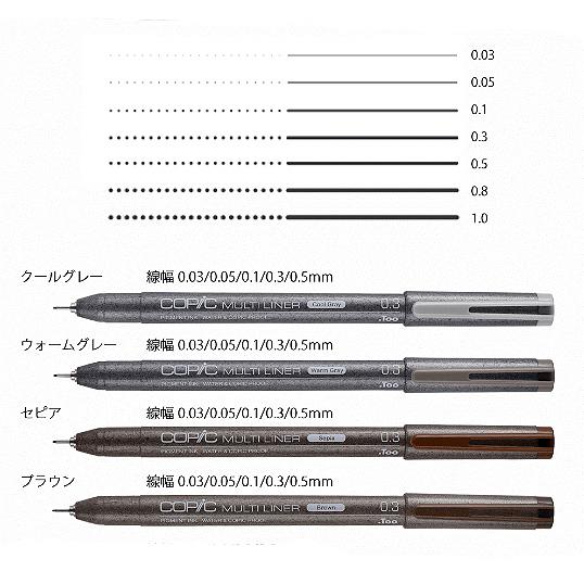 コピック マルチライナークールグレー ウォームグレー セピア 輸入 ブラウン0.03 0.5mm 0.1 出群 0.3 0.05