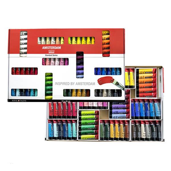 贈り物にも嬉しい オンライン限定商品 ポップで大きなBOXに入った多色セット☆ 送料無料 70色72本入りセット お得セット アムステルダムアクリリックカラー20mlチューブ