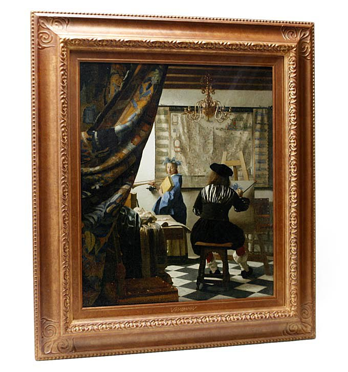 High quality reproduction painting Vermeer painting art (atelier of  painter) art history museum (Vienna) collection of paintings giclee prints