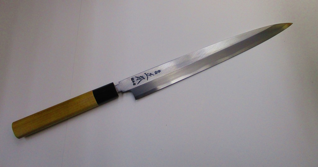 正本総本店 柳刃包丁 本霞 玉白鋼 27センチ 刺身包丁 正本 Masamoto Sohonten Yanagiba Sashimi Kitchen Knife 27cm Shirogami No.2 carbon steel