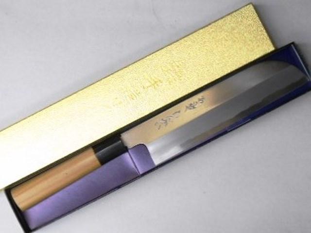あさがや しんかい 薄刃包丁(鎌型) 21センチ 白紙2号鋼(日立金属安来工場製) Asagaya Shinkai Usuba Drop Point Knife 21cm Shirogami #2
