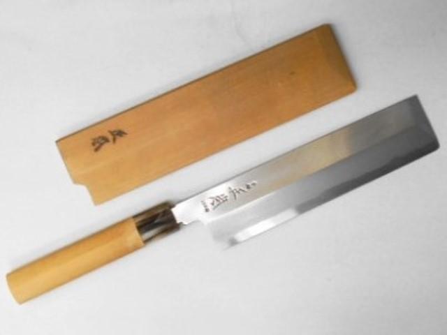 正本総本店 薄刃包丁 玉白鋼 木鞘付き 21センチ Masamoto Sohonten Usuba Kitchen Knife 21cm shirogami No.2 carbon steel with wooden sheath