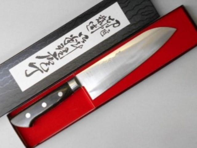 しんかい 三徳包丁 (文化包丁) 粉末ハイス鋼 (はがね) 割り込み Shinkai Santoku Kitchen Knife