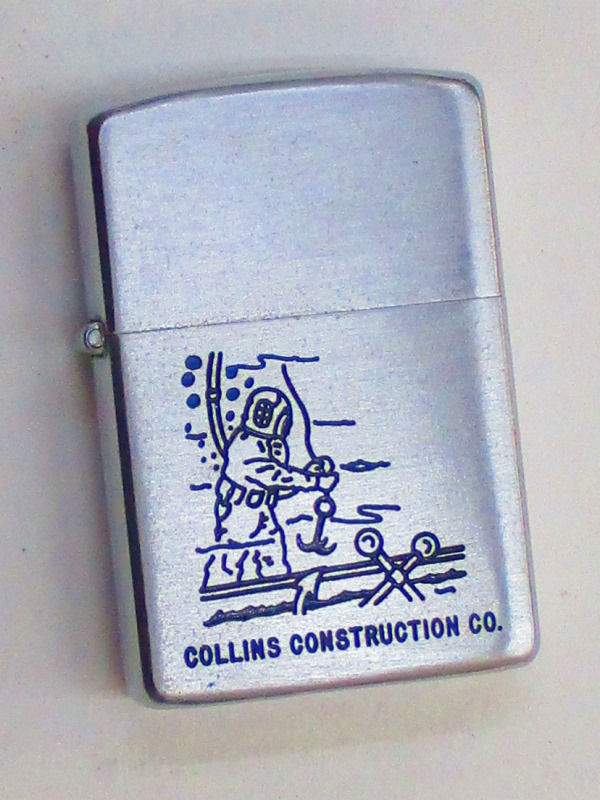 ビンテージZippo コリンズ建設 (潜水工事施工企業) 潜水士デザイン スチール製 1953-54年製 未使用 (RM-30)
