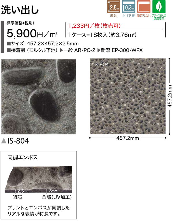 IS-804【送料無料】サンゲツフロアタイルストーンシリーズ 洗い出し 1ケース(=18枚入)
