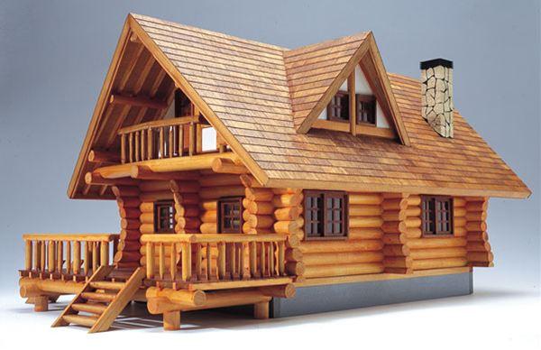 【送料無料!!】ウッディジョー 木製模型 1/24 ログハウス