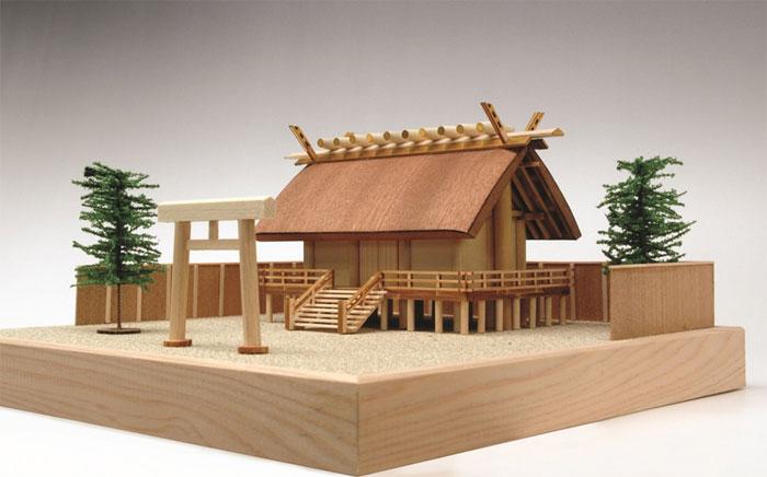 【送料無料】 ウッディジョー 木製建築模型 1/150 神明造り 神社