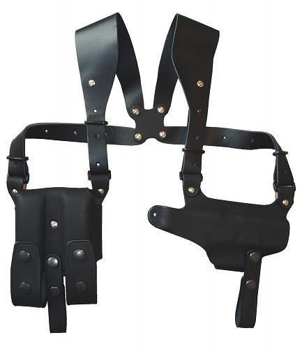 ホリゾンタル シルエットショルダーホルスター (牛革製・ブラック)285-BK