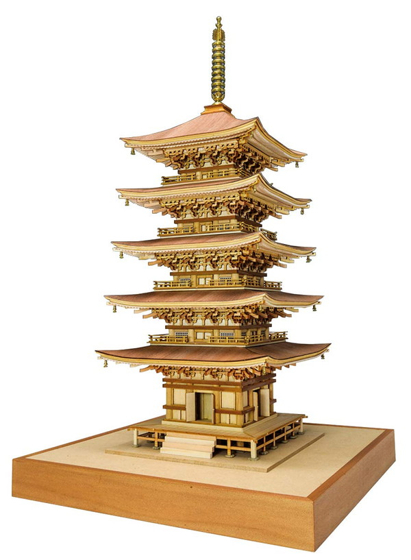 【送料無料】 木製建築模型 1/75 羽黒山 五重塔 レーザーカット加工