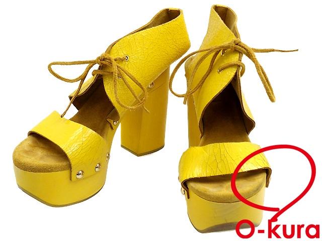 ジルサンダーネイビー サンダル レディース 古着 イエロー 黄色 サイズ37 1/2 (約24.5cm) レザー ひび割れ 加工 厚底 JIL SANDER NAVY サンダル レディース