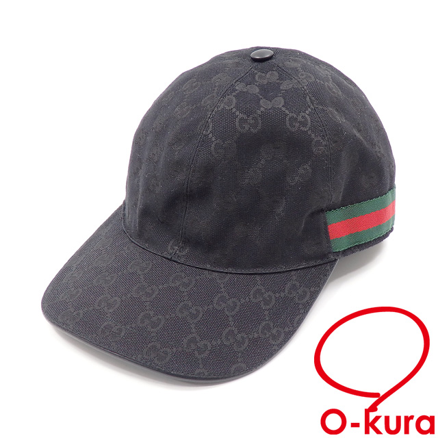 3a1a5ad63c Gucci baseball cap hat men GG キャンバスウェビングラインポリエステル other black black large  size 59 GUCCI deep-discount exemption from taxation used old ...