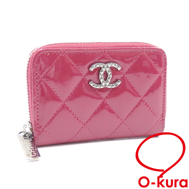 63de7272006a12 Hold Chanel coin case brilliant matelasse round zip Lady's pink patent  leather A68945 CHANEL coin purse ...